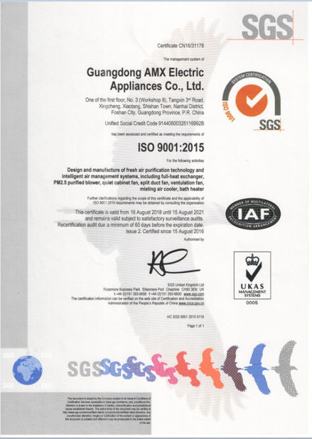 China GUANGDONG AMX ELECTRIC APPLIANCES CO., LTD. Zertifizierungen